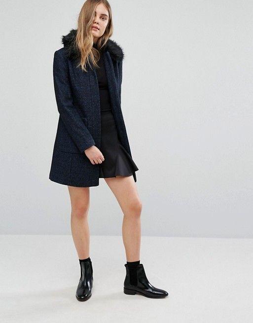 Warehouse | Warehouse Swing Faux Fur Collar Coat | design: coats