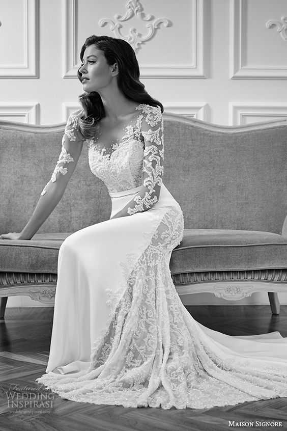 Illusion neckline wedding and sleeve on pinterest for Wedding dress with swag sleeves