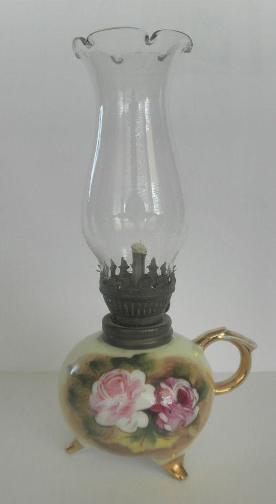 Vintage LEFTON mini OIL LAMP Roses: