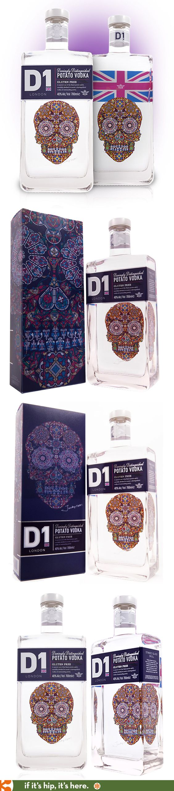 D1's Super Premium Potato Vodka with Jacky Tsai's Stained Glass Skull design.