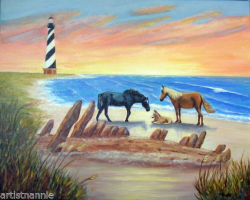 Original Art Wild Horses Cape Hatteras Lighthouse Outer Banks Sunrise Painting by North Carolina artist, Fran Brooks.  www.artistnannie.com