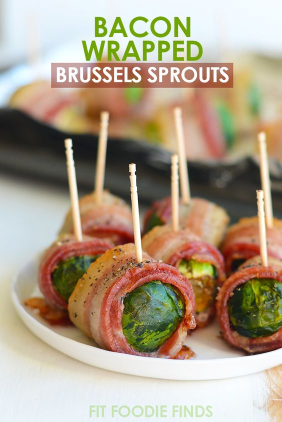 These two-ingredient, bacon-wrapped brussel sprouts -24 Tasty and Keto-friendly Recipes For Thanksgiving - OurMindfulLife.com