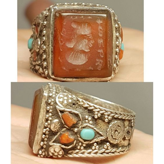 Silver wonderful Lovely Ring old Roman Agate intaglio Stone # Z | eBay
