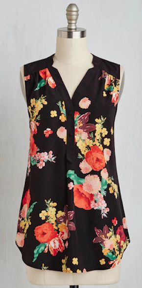 floral print sleeveless tunic