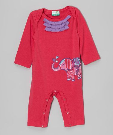 Pink Elephant Ruffle Playsuit - Infant #zulily #zulilyfinds