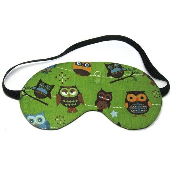 Owl Line Up on Green Sleep Eye Mask ($12) ❤ liked on Polyvore