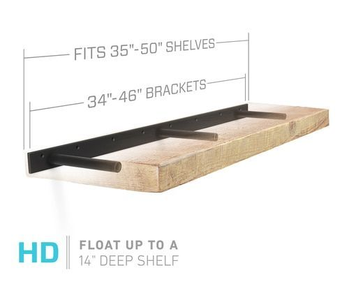 Floating Shelf Brackets Engineered For 36 Through 48 Inch Floating Shelves Our Patented Hardware With Images Floating Shelves Floating Shelves Diy Floating Shelf Brackets