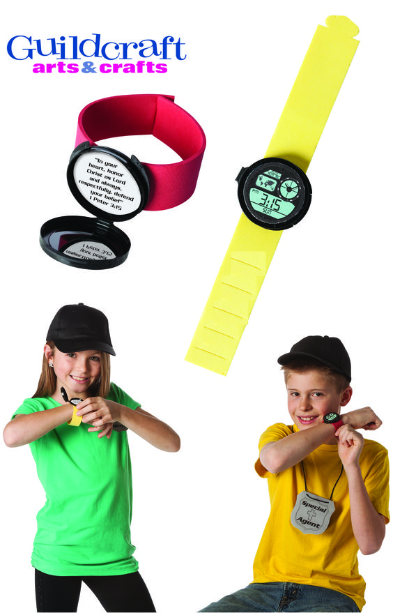 """Special Agent Secret Compartment Watches from Guildcraft Arts & Crafts! The secret compartment reminds kids that things are not always as they appear, and the time printed on each watch will help them remember the weekly verse 1 Peter 3:15. This bible verse is also inside the secret compartment! Includes plastic watch compartments (watches are decorative and do not actually tell time), adjustable foam wristbands (assorted colors), watch faces, verse stickers and Glue DotsTM. 8 1/ """" x 1 1/2""""."""
