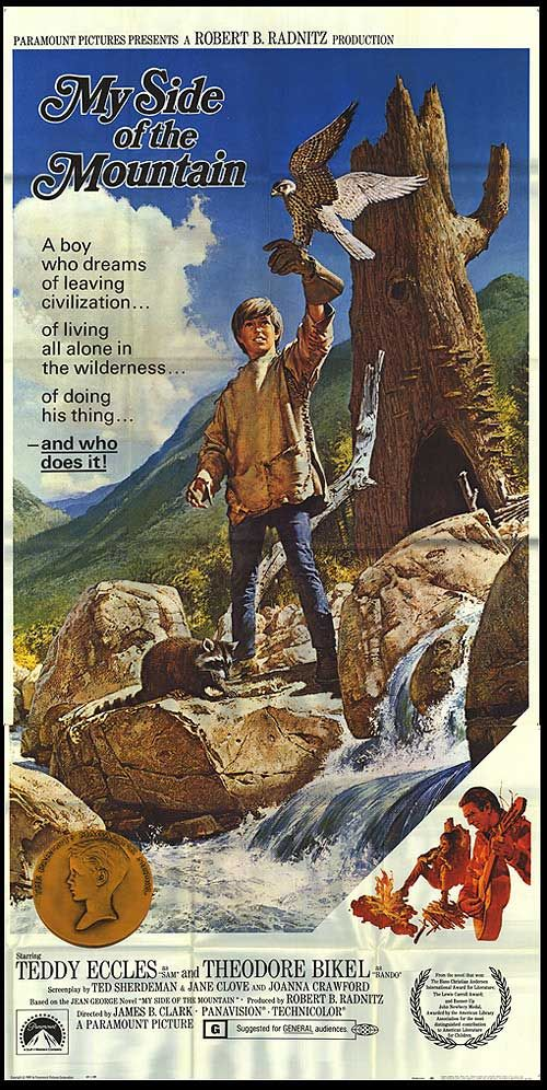 """My Side of the Mountain"" (1969) Stars: Ted Eccles, Theodore Bikel, Tudi Wiggins, Paul Hébert ~ Director: James B. Clark"