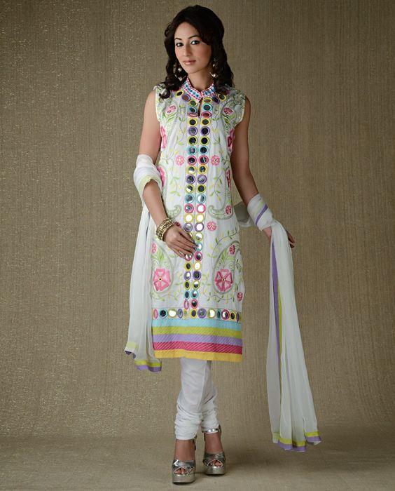 Mirror Work Embellished White Suit | SUITS-PAKISTHANI DRESSES