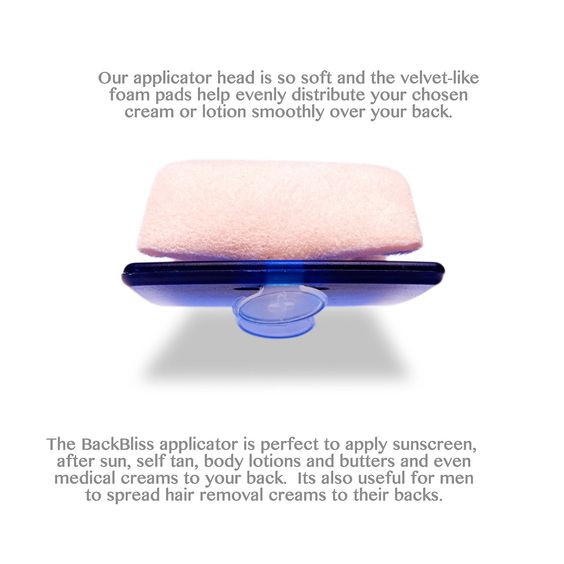 Back Lotion Applicator Purple easily apply SUNSCREEN, SELF TAN, ACNE, medical OINTMENT & body cream. 100% reach. No streaks or patches. BackBliss Patented Design, UK Made. With Travel Pouch and two pads. Choice of Black, Clear, Pink, Blue and Purple. Great for men's BACK HAIR REMOVAL depilatory gel & shaving foam.: Amazon.co.uk: Kitchen & Home