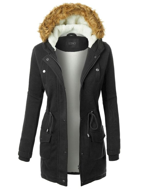 Womens Long Fleece Faux Fur Lined Hoodie Parka Coat Jacket with ...