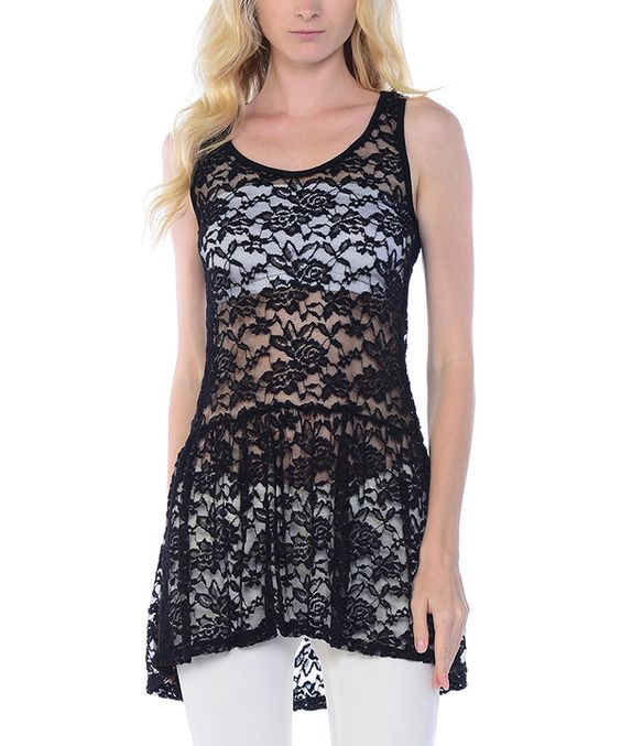 Look at this Black Sheer Lace Drop-Waist Tank on #zulily today!