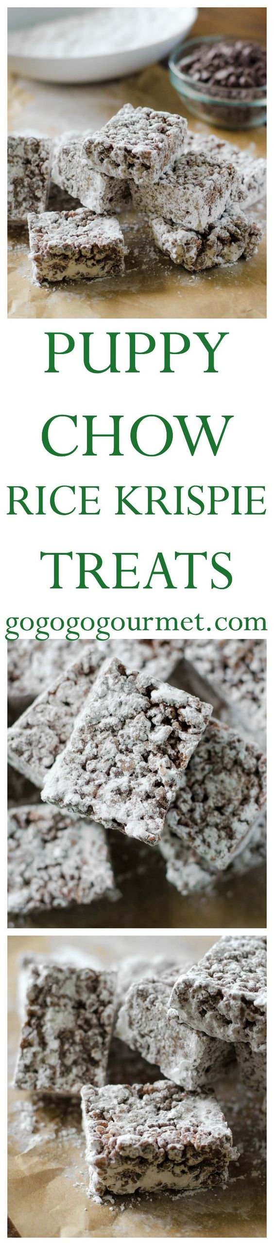Check out puppy chow rice krispie treats it 39 s so easy to for How do you make rice crispy treats