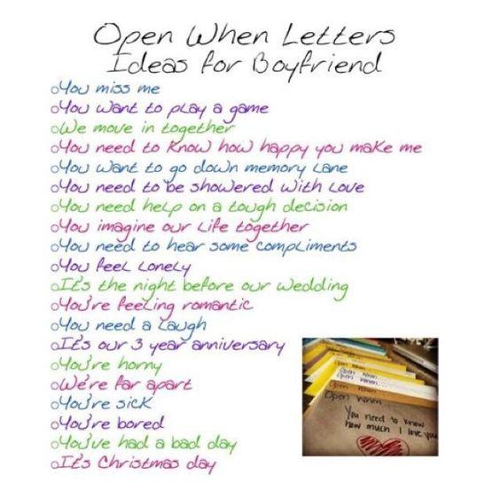 make a open when letters for your boyfriend/girlfriend when she