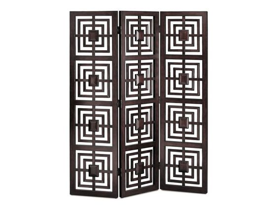 "The Geo screen brings artistic charm and functionality to your spaces. Create a dynamic room divider, a decorative ""wall"" or a romantic dressing corner with this espresso 3-panel screen.: Living Rooms, Separate Spaces, Screens Privacy, Small Living Spaces, Screens Room Dividers, Decorative Screens Room, Artistic Charm, Spaces Cort"