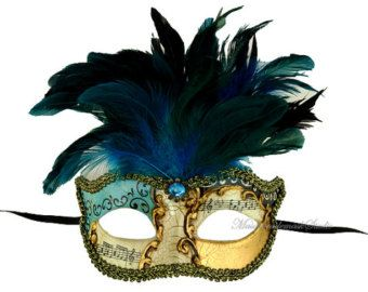 Masquerade Feather Mask - Pretty Ocean Blue Feathered Venetian Style Masquerade Ball Mask