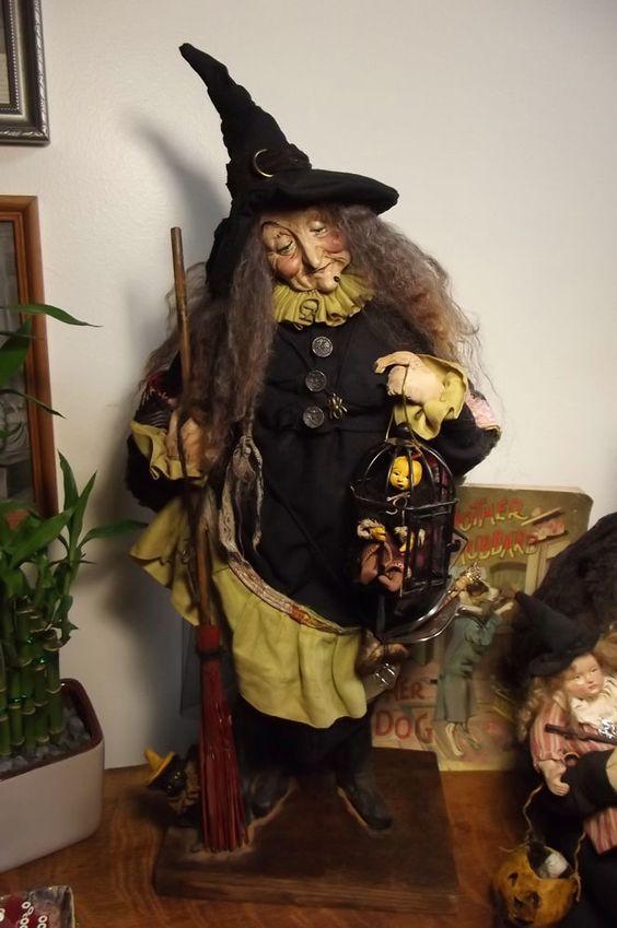 Kim's Klaus~Ooak Handmade Witch~Folk Art Doll~Antique Vintage Halloween~Jack~Cat #KimsKlaus
