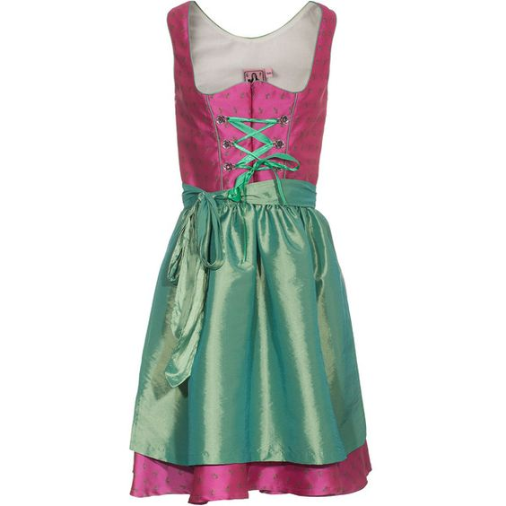 German Princess Bloomy Pink Dirndl Dress With Apron ❤ liked on Polyvore