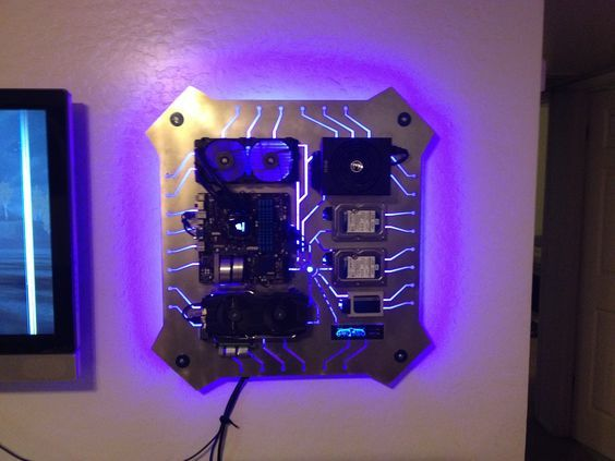 I Made A Custom Wall Mounted Pc For My So And I Want To Show Off Wall Mounted Pc Wall Computer Custom Computer