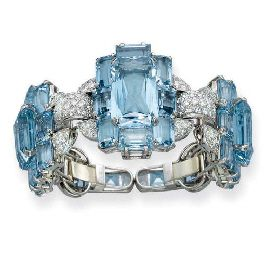 Art Deco aquamarine and diamond bangle bracelet by Cartier - circa 1935