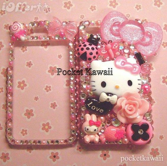 Love heart Hello Kitty custom bling cell phone case