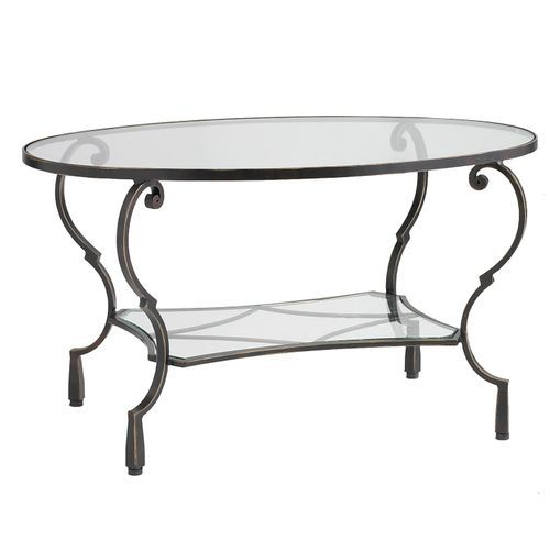 Chasca Glass Top Brown Oval Coffee Table Coffee Table Oval