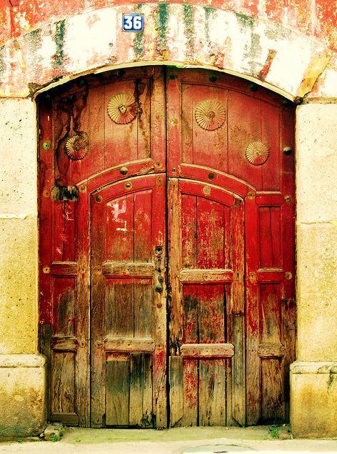 ancient red doors