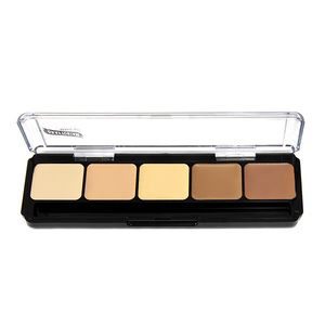 Graftobian's Hi-Lite Contour Palette has 5 ultra creamy shades for blending a seamless contour on either light or deep skin tones.