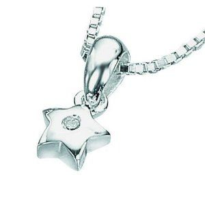 D for Diamond Sterling Silver P616 Girls Diamond Set Star Pendant