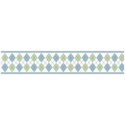 "Sweet Jojo Designs Argyle Green Blue 15' x 6"" Geometric Border Wallpaper"