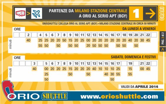 New timetable Line 1 Milan Central Station > Orio al Serio APT (from 1st April 2014)