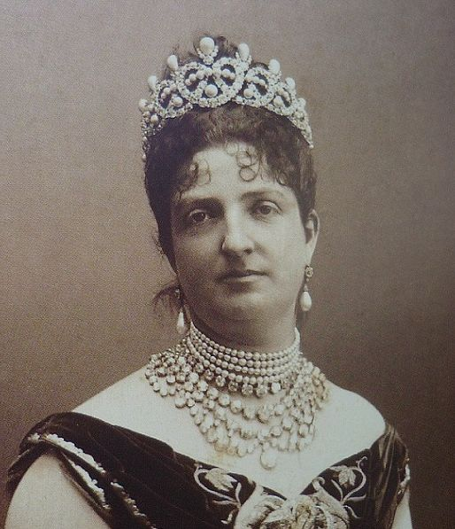 Margherita of Savoy, Queen consort of King Umberto I, wearing the Grand Tiara (pearl setting), Italy (1883; pearls, diamonds).