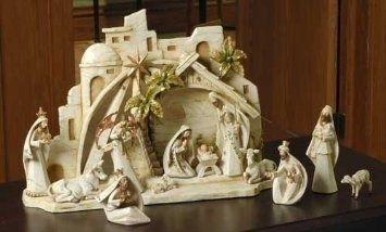 13-Piece Woodland Inspirations Bethlehem Christmas Nativity Scene Set: Home & Kitchen