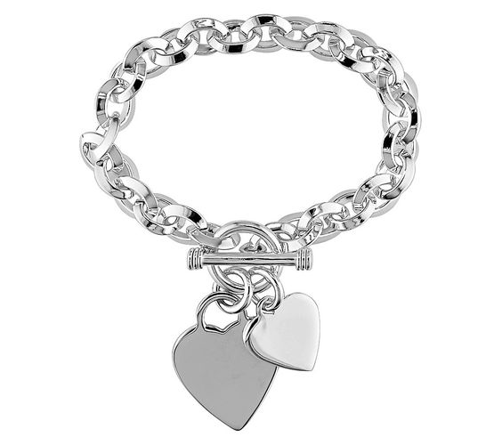 Fingers crossed ! Would be nice to have for possibly Mother's Day or something for me and my daughter engraved on it etc ...Oval Link Bracelet with Heart Charms and Toggle Clasp in Sterling Silver - 7.5""