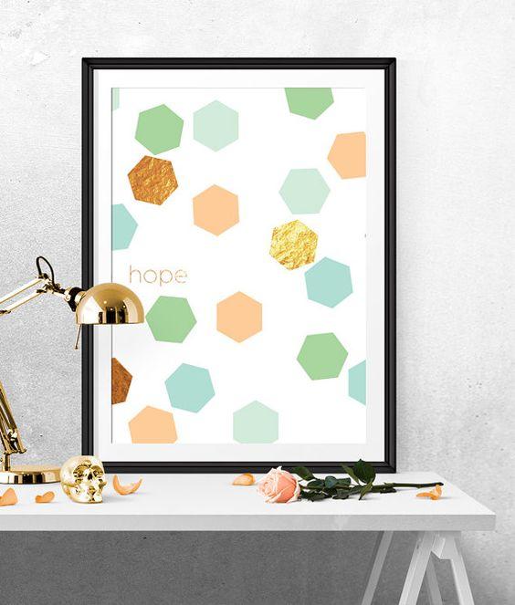 Hexagons Print, Hexagon Art, Hope Print, Mint And gold, Pink Blue Mint, Gold Hexagon, Gold Geometric, Geometric Wall Art, Geometric Print