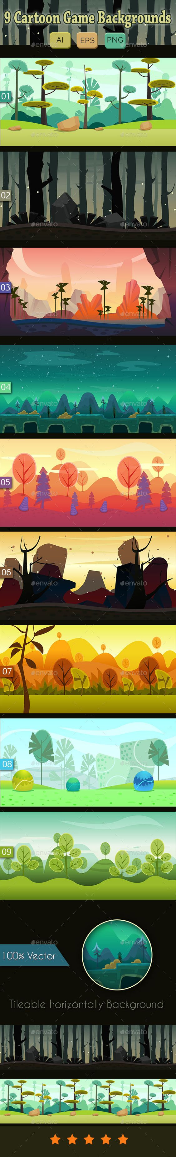 9 Cartoon Game Backgrounds - Backgrounds Game Assets