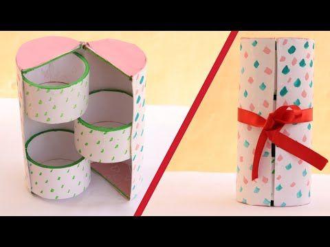 Diy Cute Mini 3 Drawers Cylinder Box Jewelry Organizer Recycling Cardboard Art Creativity Easy Diy Jewellery Box Diy Jewelry Organizer Box Jewelry Box Diy