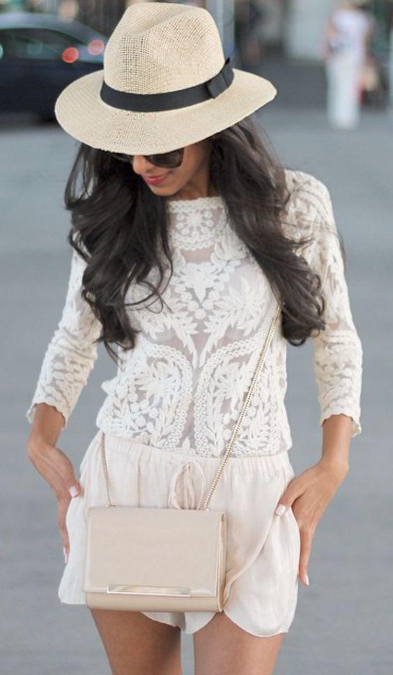 outfits blanc con sombrero