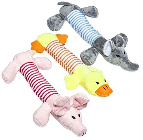 Cuteshower Squeaky Dog Toys Dog Chew Toys Safe 3 Pcs Plush Dog