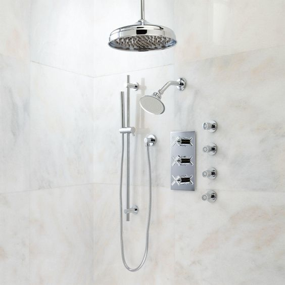 Exira Thermostatic Shower System - Dual Shower Heads, Hand Shower and 4 Body Sprays