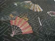 Japanese Vintage Kimono, HAORI, SILK, Silky Black, Folding Fan P091104