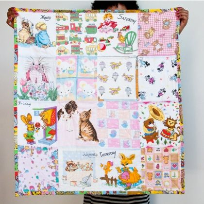 Baby sheet made from vintage hankies-CASSIE- how cute is this???