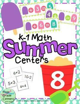 End the year with some fun math centers to review missing addends, addition and subtraction.  This set contains a popsicle game for practicing missing addends and a sand pail game for addition and subtraction.