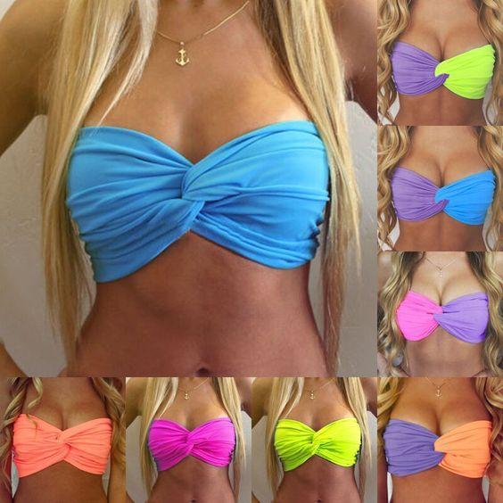 Casual Women Lady Beach Swimwear Strapless Hit Color Bikini Tops Bra Swimwear