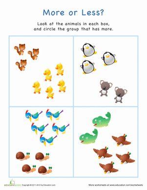 Free Worksheets preschool measurement worksheets : More or Less Animals | Animals, Google and Kindergarten
