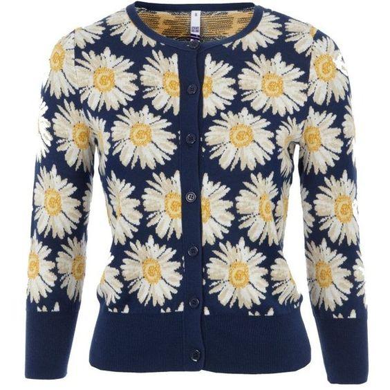 Navy daisy print cardigan