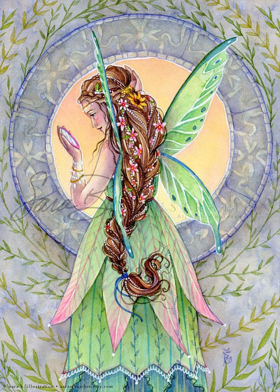 Note the upside down flower skirt. Fairy Art  Emerald Green Fairy Print  Beautifully by sara m butcher, $12.00 Etsy: