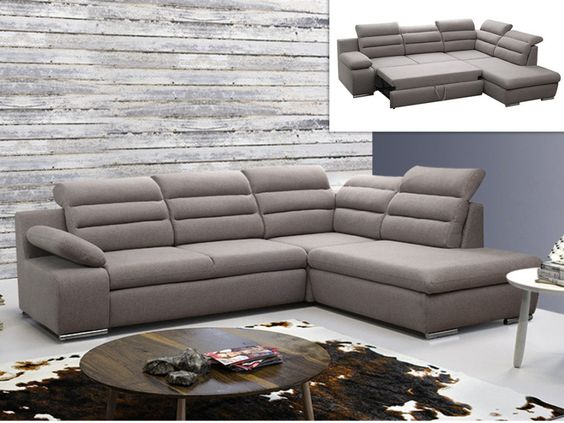 canap d 39 angle convertible tissu pylos gris angle droit prix promo canap vente unique. Black Bedroom Furniture Sets. Home Design Ideas