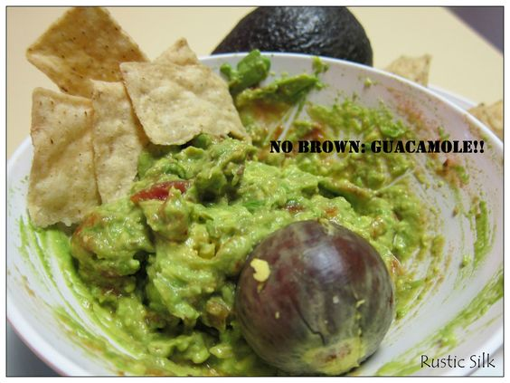 Rustic Silk: Recipe for guacamole that doesn't go brown for 24hrs.